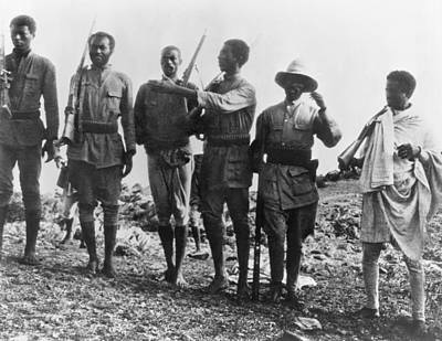 Indigenous Culture Photograph - Ethiopians Soldiers Drilling by Underwood Archives