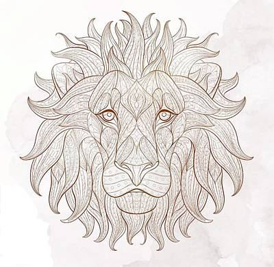 Painting - Ethnic Lion by Aloke Creative Store