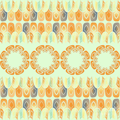 Ethnic Orange Pattern Art Print