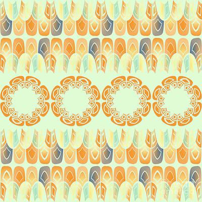 Algorithmic Digital Art - Ethnic Orange Pattern by Gaspar Avila