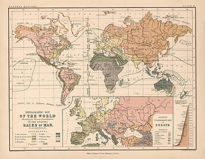 Old World Vintage Cartographic Maps Wall Art - Drawing - Ethnographic Map Of The World 02 - Races Of Man by Studio Grafiikka