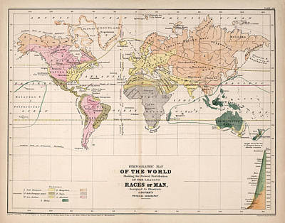 Old World Vintage Cartographic Maps Wall Art - Drawing - Ethnographic Map Of The World - Races Of Man - Antique Maps - Historical Maps by Studio Grafiikka