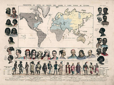Drawings Royalty Free Images - Ethnographic Map - Races of Man - Anthropology - Historic Chart - Ethnic Races - Old Maps Royalty-Free Image by Studio Grafiikka