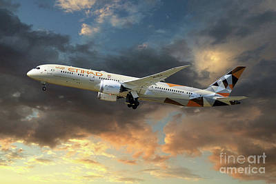Boeing 787 Dreamliner Digital Art - Etihad Airways Boeing 787-9 Dreamliner by J Biggadike