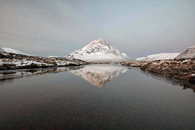 Photograph - Etive Mountain Reflection by Grant Glendinning