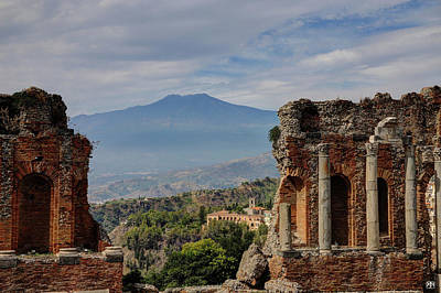 Photograph - Etna From The Greek Theater by John Meader