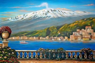Espresso Painting - Etna Sicily by Italian Art