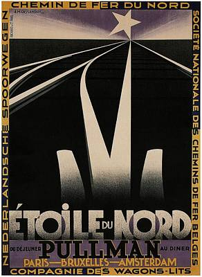 Mixed Media - Etoile Du Nord Du Dejeuner Pullman Au Diner - Railway Tracks - Vintage Advertising Poster by Studio Grafiikka