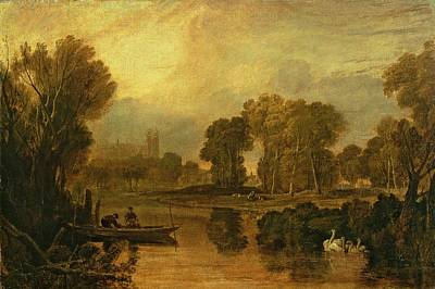 Park Scene Painting - Eton College From The River by Joseph Mallord William Turner