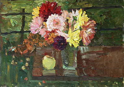 Painting - Etude With Asters by Juliya Zhukova
