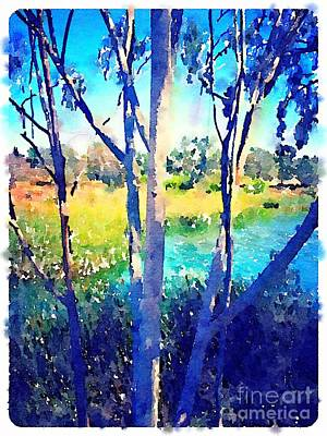San Diego Artist Painting - Eucalyptus Trees In The Cove Lake Murray San Diego by John Castell