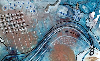 Mixed Media - Blue Copper Abstract Mixed Media Painting, Euclid by Lake and River Co