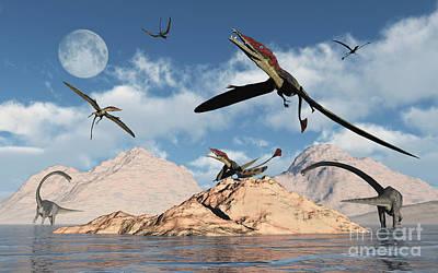 Triassic Digital Art - Eudimorphodons From The Triassic Period by Mark Stevenson
