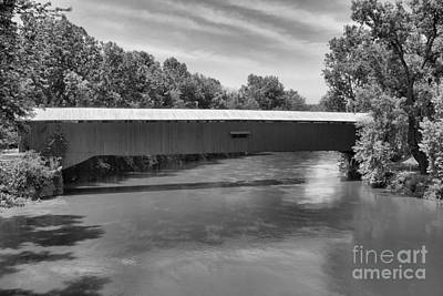 Photograph - Eugene Covered Bridge Black And White by Adam Jewell