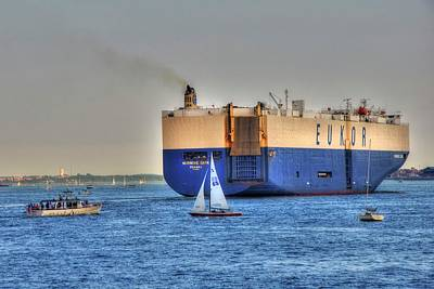 Photograph - Eukor Car Carrier Ship - Boston Harbor by Joann Vitali