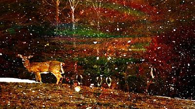 Photograph - Euphoric Nighttime New England Whitetails Snow Coming by Mike Breau