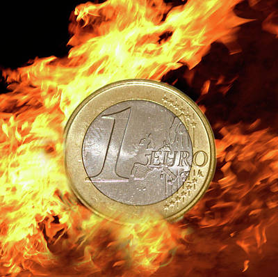 Burning Money Photograph -  Euro Euros Burning Money In Flames by David Cole