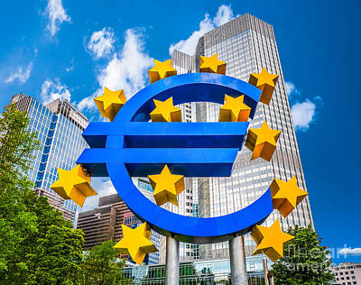 Euro Sign At European Central Bank In Frankfurt, Germany Art Print by JR Photography
