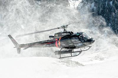 Land Photograph - Eurocopter As-350 F-hauf Snow by Roberto Chiartano