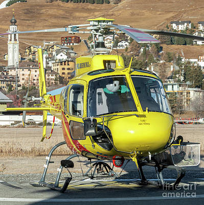 Speed Photograph - Eurocopter Ec 350 Helibernina Hb-zmy Parked At St. Moritz Airport by Roberto Chiartano
