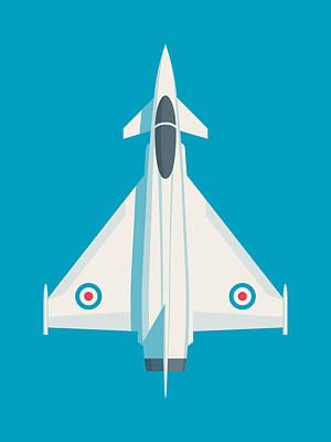 Military Aircraft Wall Art - Digital Art - Eurofighter Typhoon Jet Fighter Aircraft - Cyan by Ivan Krpan