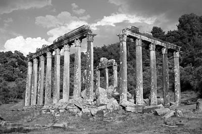 Photograph - Euromos Roman Ruins Black And White  by Taiche Acrylic Art