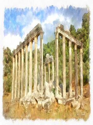 Painting - Euromos Ruins Watercolor by Tracey Harrington-Simpson