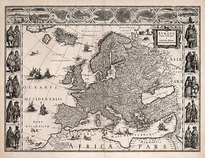 Drawings Royalty Free Images - Europa - Antique Illustrated Map of Europe - Geographical Map - Cities and the People Royalty-Free Image by Studio Grafiikka