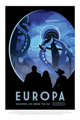 Photograph - Europa Discover Life Under The Ice - Nasa Vintage Poster by Mark Kiver