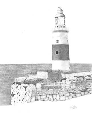 Drawing - Europa Point Lighthouse by Patricia Hiltz