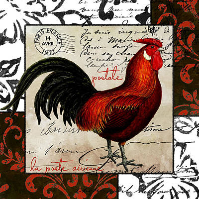 Rooster Wall Art - Painting - Europa Rooster II by Mindy Sommers