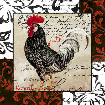 Rooster Wall Art - Painting - Europa Rooster IIi by Mindy Sommers