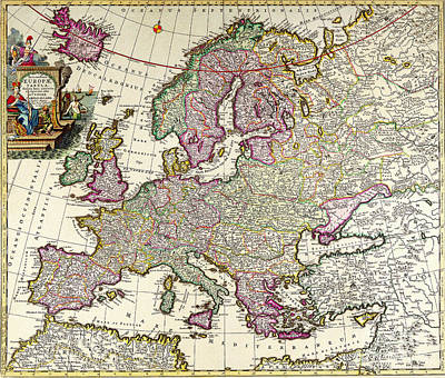 Painting - Europa Tabula Very Old Vintage Colorful Map Of Europe by R Muirhead Art