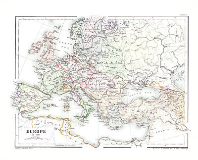 Photograph - Europe 1740 Map by Rospotte Photography