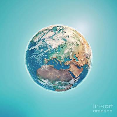 World Map Digital Art - Europe 3d Render Planet Earth Clouds by Frank Ramspott