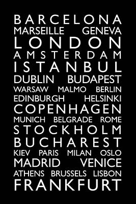 Europe Cities Bus Roll Art Print