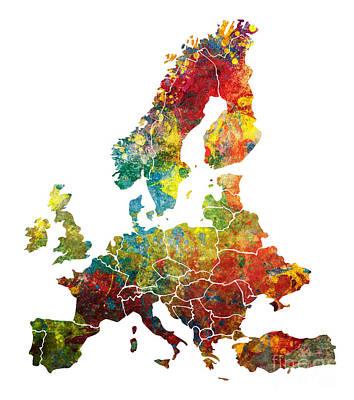 Europe Map Dark Colored Print by Justyna JBJart