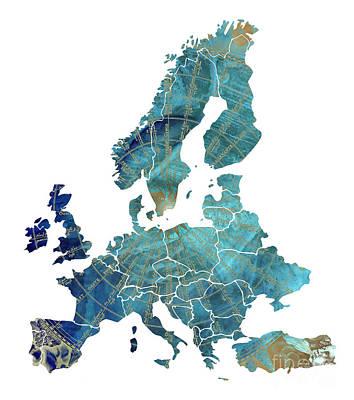 Europe Map Wind Map Art Print by Justyna JBJart
