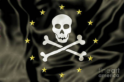 Piracy Jolly Roger Bones Danger Photograph - Europe Pirate Flag by Benny Marty