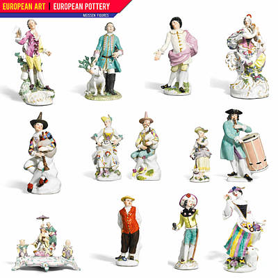 Painting - European Art European Pottery - Meissen Figures by Celestial Images