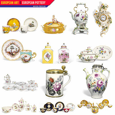 Digital Art - European Art European Pottery - Meissen Porcelain by Celestial Images