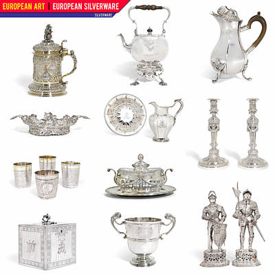 Painting - European Art European Silverware - Silverware by Celestial Images