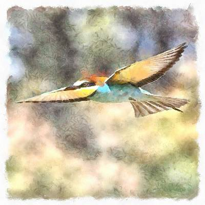 Painting - European Bee Eater In Flight Watercolor by Taiche Acrylic Art
