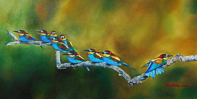 Painting - European Bee Eaters by Dana Newman