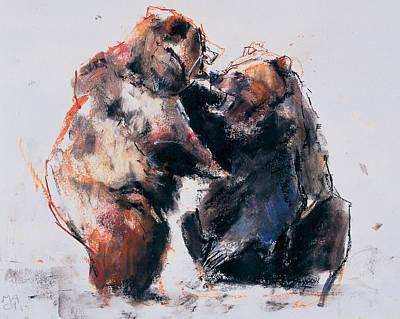 Wild Bear Painting - European Brown Bears by Mark Adlington