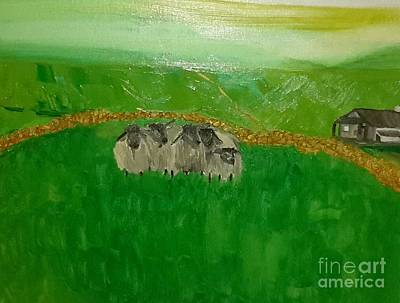 Shorn Sheep Painting - European Countryside by Cindy  Riley