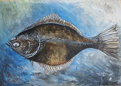 Flounder Painting - European Flounder by Yvonne Walther