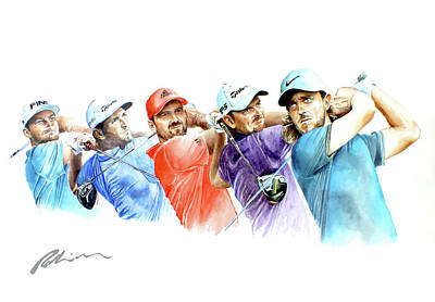 Painting - European Golf Champions Race 2017 by Mark Robinson