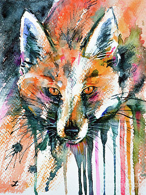 Painting - European Red Fox by Zaira Dzhaubaeva