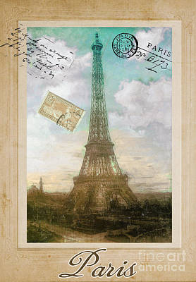 Postcard Painting - European Vacation Postcard Paris by Mindy Sommers